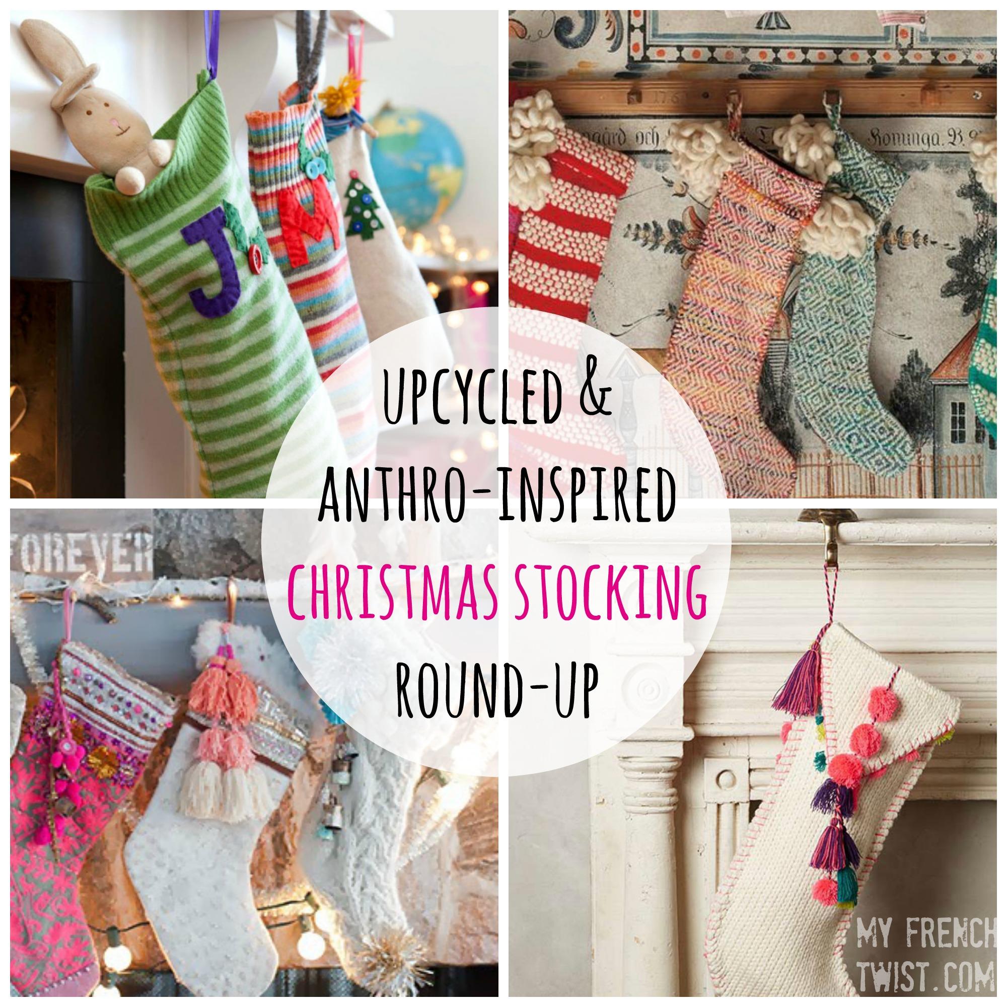 upcycled anthro inspired christmas stockings myfrenchtwistcom - Handmade Christmas Stockings